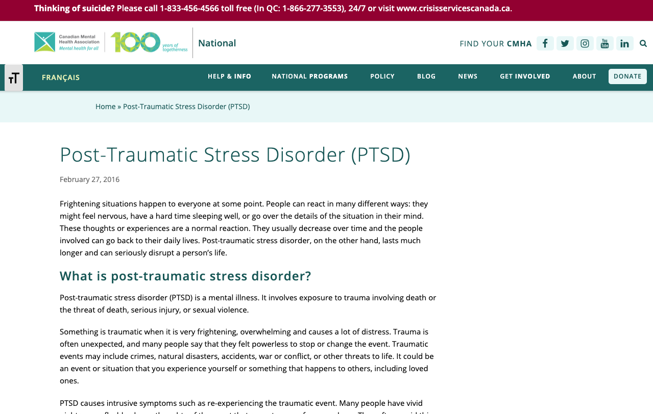 PTSD – Canadian Mental Health Association