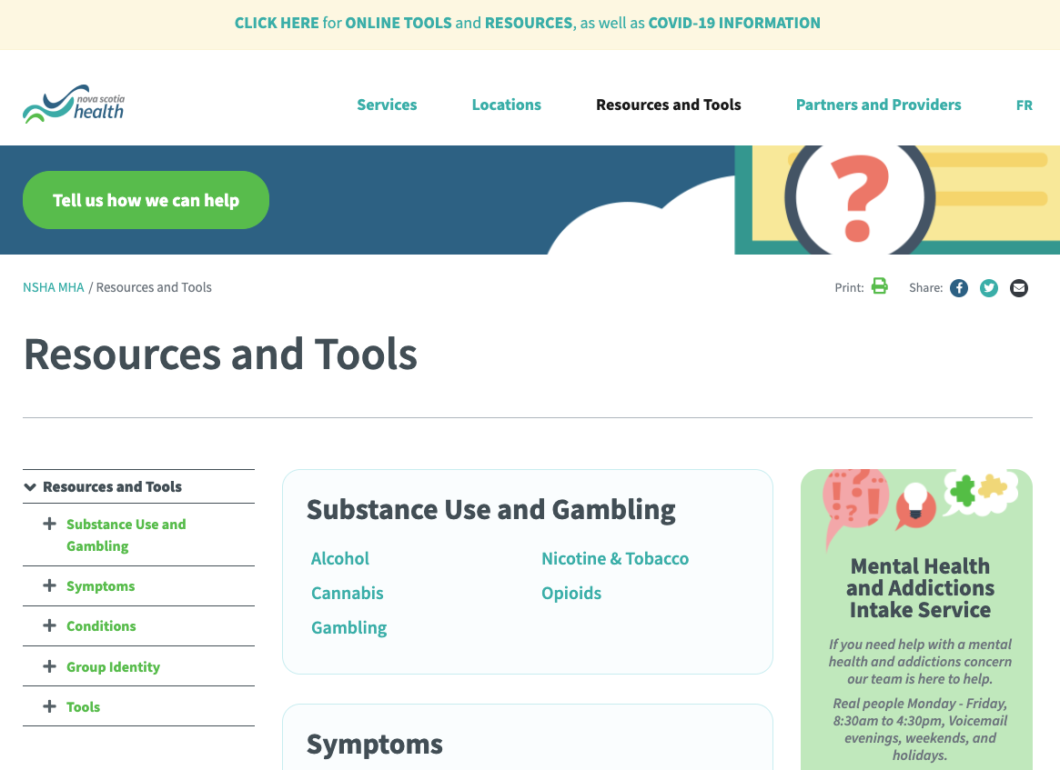 Substance Use and Gambling – Mental Health and Addictions NS