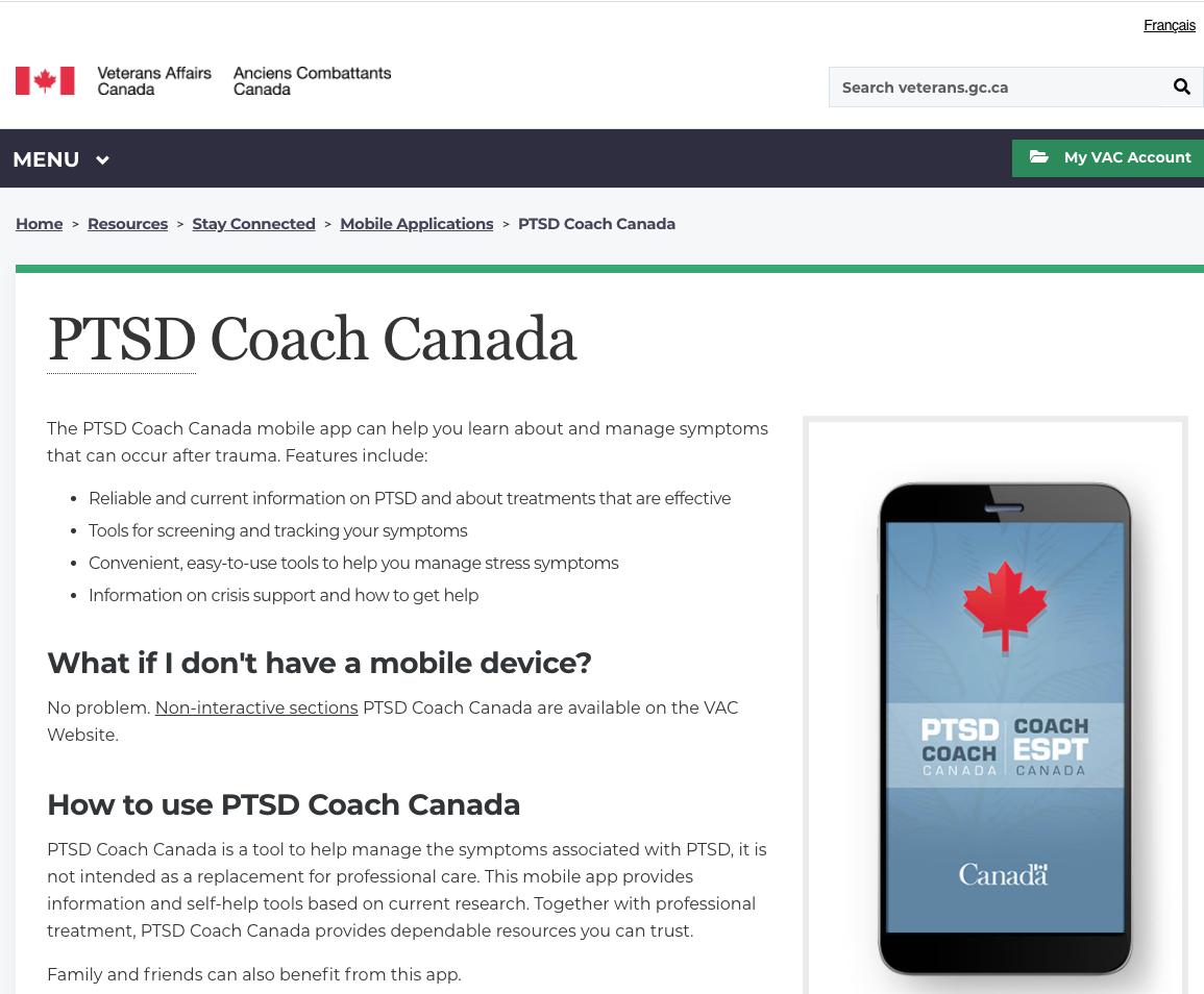 PTSD Coach Canada – Veterans Affairs Canada