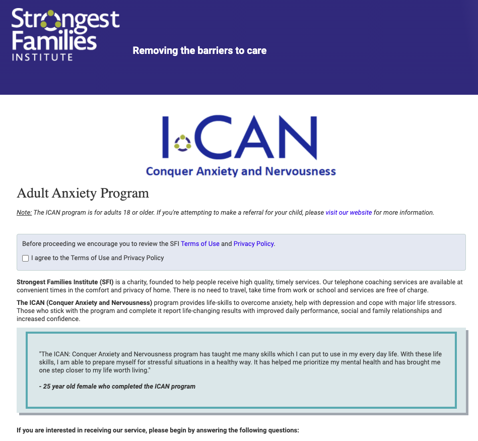 iCAN tool for anxiety and depression (Strongest Families)