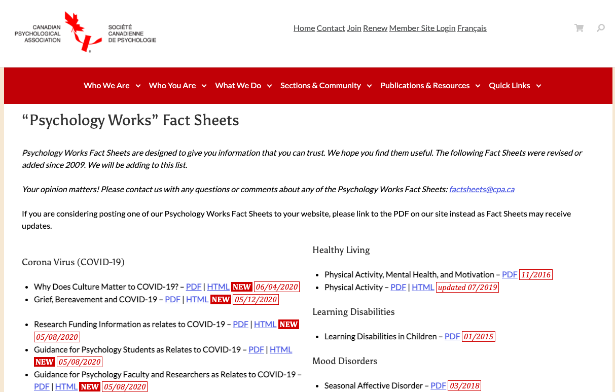 Psychology Works Fact Sheets from the Canadian Psychology Association